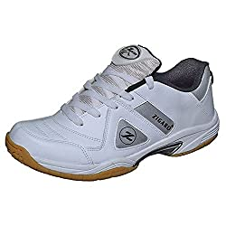 Zigaro Men White PU Badminton Shoes 10 UK