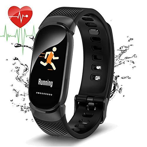 LIGE Fitness Trackers,Pantalla de Color Rastreador de Actividad Reloj Inteligente Monitor de Ritmo cardíaco Negro Impermeable Podómetro Adecuado para Hombres,Mujeres y niños, Android y iOS