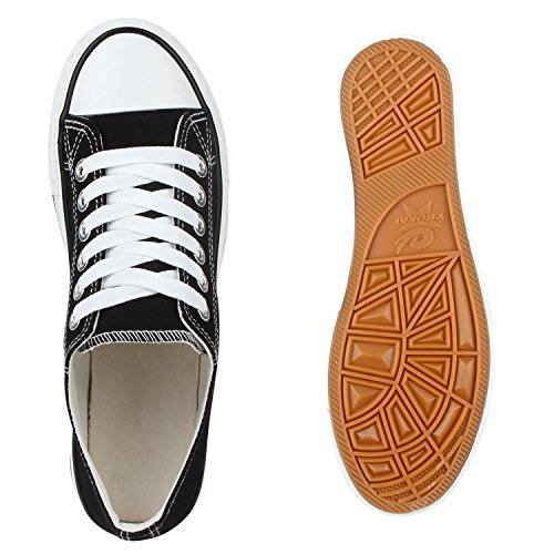 Bequeme Damen Sneakers Low Canvas Schuhe Freizeit Turnschuhe Schwarz