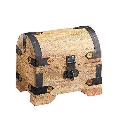 Casa vivente - cofanetto in legno chiaro - porta gioielli donna - baule portaoggetti - scatole regalo - salvadanaio grande - contenitori vintage - oggetti per la casa - 10 cm x 7 cm x 8.5 cm