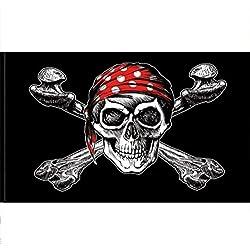 Pirata Bandera con bandana roja, 90x 150cm.