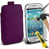 Fone-Case ( Dark Purple ) Samsung galaxy S3 Mini Hülle Abdeckung Cover Case schutzhülle Tasche Brand New Luxury Faux PU-Leder Pull Tab-Beutel-Haut-Kasten-Abdeckung mit gehärtetem Glas Crystal Clear LCD Display-Schutzfolien