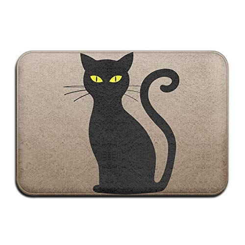 Outdoor Natural Easy Clean Doormat 23.6x15.7 inches/40x60cm Inside & Outside Floor Door Mat Halloween Cat Design Pattern for Pet Cat Dog Feeding Mat ()
