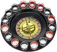 iktu shot glass roulette drinking game set with spinning wheel, 2 balls and 16 shot glasses - casino adult par