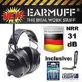 'Black 31dB original 'Ear Muff avec 8Émetteur mémoire–Extra Robuste Radio Capsule Casque anti-bruit avec smartphone et connecteur MP3avec câble AUX, 4piles Varta & Clip ceinture