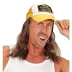 NET TOYS Trucker Basecap mit Haaren Rednecks Baseball Kappe LKW Fahrer Schirmmütze Hillbilly Busfahrer Mütze Base Cap Hinterwäldler Baseballcape Fernfahrer Kostüm Accessoire