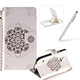 Strap Leather Case for Samsung Galaxy S5,Flip Wallet Cover for Samsung Galaxy S5,Herzzer Black Mandala Pattern Magnetic Closure Purse Folio Smart Stand Cover with Card Cash Slot Soft TPU Inner Case for Samsung Galaxy S5 + 1 x Free White Cellphone Kickstand + 1 x Free Silver Stylus Pen