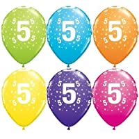 "Age 5/5th Birthday Tropical Assorted Qualatex 11"" Latex Balloons x 5"