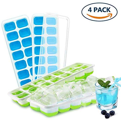 Eiswürfelform Mit Deckel, Invool Eiswürfelform Silikon Einfache Freigabe Ohne BPA Eiswürfelbehälter für Whisky, Cocktail, Soda, Getränke (4 Stück)