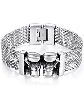 JewelryWe Schmuck Herren Armband Edelstahl Biker Retro Doppelt Boxhandschuhe Handschuhen Mesh Kette Armreif Armkette...