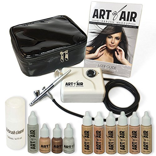 Art of Air Professional Airbrush Cosmetic Makeup System / Fair to Medium Shades 6pc Foundation Set with Blush Bronzer Shimmer and Primer Makeup Airbrush Kit