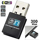 EkoBuy® 300Mbps Mini Dongle inalámbrico N adaptador USB, 2,4GHz, compatible con Windows, Mac OS, Linux, Raspberry Pi