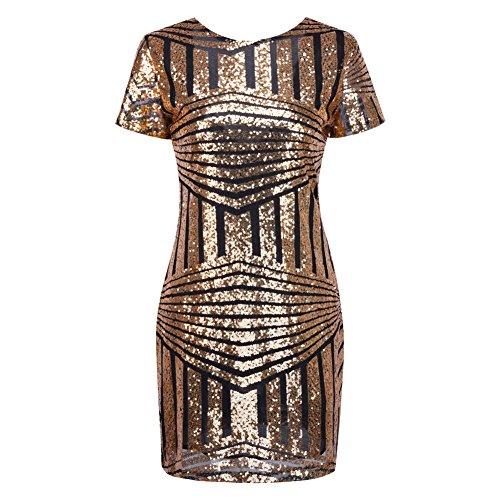 iBaste Bodycon Kleid Damen Pailletten Kleid Kurzarm Pencil Kleid elegant Minikleid Partykleid-GB-M - 3