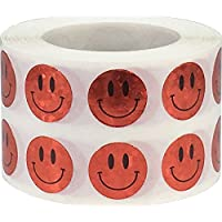 Smiley Face Circle Dot Stickers, 13 mm 1/2 Inch Round, 1000 Labels on a Roll