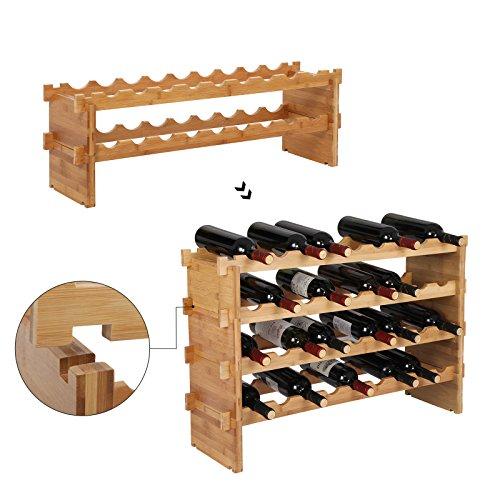 SONGMICS Botellero de bambú apilable, Estante de Vino de 2 Niveles para 18 Botellas, Soporte para Botellas de Vino, Color Natural, KWR002NL