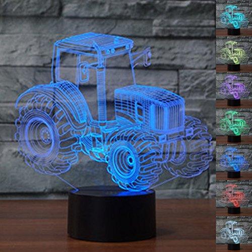 ter 3D Illusion Nachttisch Lampe 7 Farben ändern Schlafen Beleuchtung Smart Touch Button Nette Geschenk Warming präsentieren kreative Dekoration ideale Kunst Handwerk (Traktor) (Handwerk Ideen Für Jungen)
