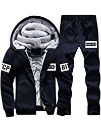 f0623e93a5e Mens Tracksuit Set Fleece Hoodie Top Bottoms Winter Thick Casual Tracksuits  2 Pieces Sets Sports Jogging