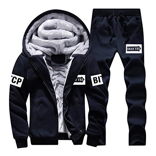 bst Winter Trainingsanzug warme Fleece Zipper Hoodie Zipper Zipper Jacke+Stretch Einfarbig Hosen Mode Tragbar Anzug Jogginganzug Sportanzug (Marine,L) ()