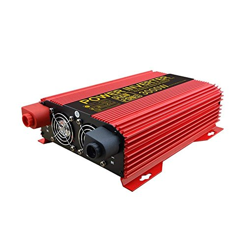 DWAN51 Sinus-wechselrichter Power 3000 Watt DC 12 V zu 220 V AC Solar PV Auto Converter für Outdoor Camping Kühlschrank Handy Laptop (Rot)