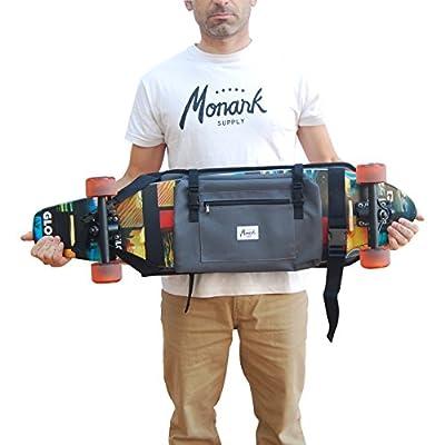 Rucksack zum transport Longboard, Skateboard Surf Skate oder voll, Idee Geschenk San Valentin. Grau.