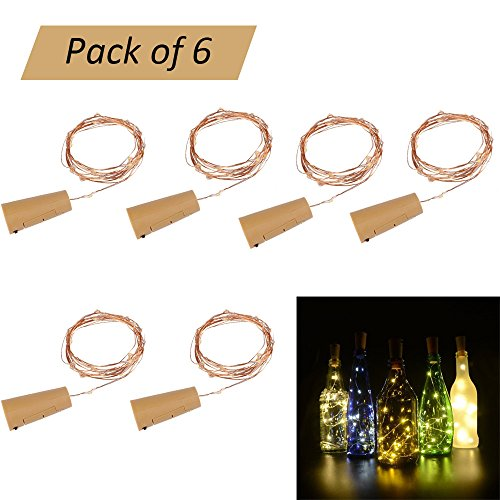arm White Wine Flasche Cork Lights LED Kupferdraht Starry String Lights Batterie Seil Lampe für Flasche DIY, Party, Dekor, Weihnachten, Halloween, Hochzeit (2M-6 Pack) (Thanksgiving-handwerk Zu Machen)