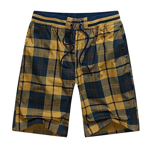 Feidaeu Herren Shorts Classic Plaid Einstellbare Kordelzug Elastische Taille Täglich Sportlich Lässig Komfortable Schweißabsorbierend Atmungsaktive Hose