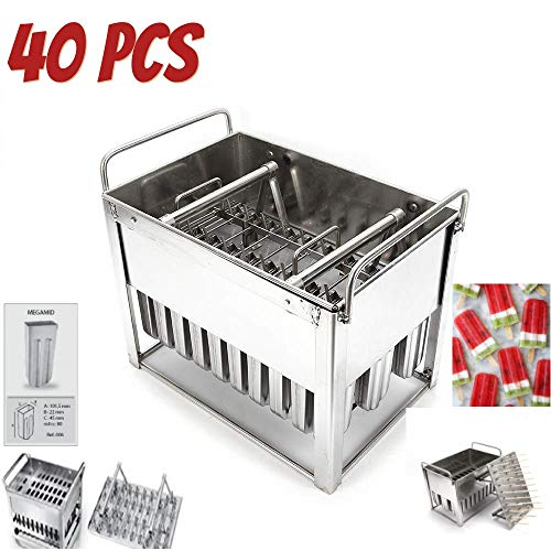 Edelstahl Popsicle Form Maschine-Ice Pop Formen BPA-frei-Eis Form Pop Formen mit Holz sticks-ice Pop Maker Formen 40 cavity molds