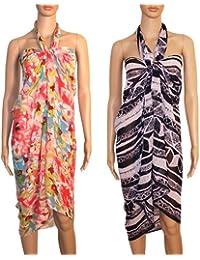 INDIAN FASHION GURU Women's set of 2 beautiful beach wear sarong, pareo, wrap swimsuit cover up