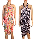 Combo of Two Sarong or Pareo Swim Cover Up Multipurpose Colorful Beachwear