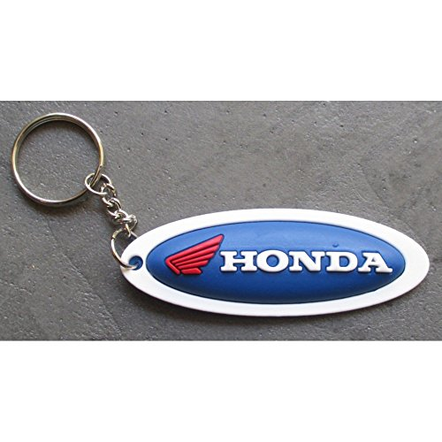 hotrodspirit - porte clé moto honda oval bleu plastique souple sportive
