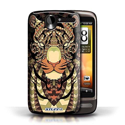 Coque de Stuff4 / Coque pour HTC Desire G7 / Loup-Bleu Design / Motif Animaux Aztec Collection Tigre-Sépia