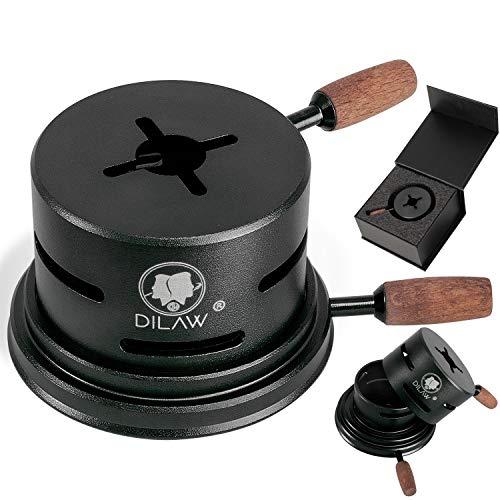 DILAW® Shisha UNO Smokbox | mit nur 1 Kohle | Kamin-aufsatz Aluminium Alu | Passt auf beinahe jeden Kopf | spart Kohlen | Länger Rauchen | für Tabakkopf Kohle Aufsatz | Black