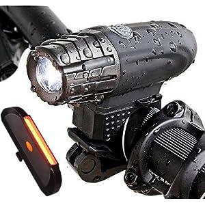 SOOJET BFR-03 Luz LED para Bicicleta Recargable por USB, 4 Modos, Resistente al Agua, Set de luces para Bicicleta Delantera 300 LM y Trasera 100 LM, Instalación Fácil, Bicicleta de Carretera o Montaña