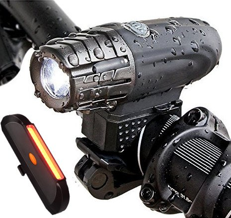 SOOJET BFR-03 Luces LED Bicicleta USB Recargables, 4 Modos, Resistente al Agua, Set Luz de Bicicleta Delantera 300 LM y Trasera 100 LM, Instalación Fácil, Bici de Carretera o Montaña