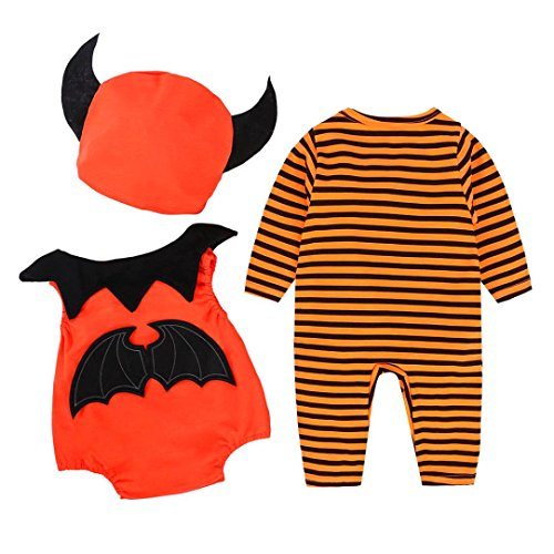 Kinderbekleidung Neugeborene Walkoverall Baby Strampler Säugling Mädchen Junge Gestreift Monster Spielanzug Halloween Lange Ärmel Outfits Vlies Baumwolle Party Winteranzug Kostüm Hirolan (90, Orange) (Neugeborenen-halloween-kostüme)