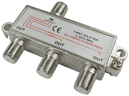 2/3/4-Weg-F-Verbinder (Satellit) Kabelsplitter, DC-Spannungsdurchgang, Metallguss, 1x Buchse auf 2x Buchse (RF-Splitter, Koaxial-Signal von einer Quelle an zwei Bildschirme). (Koaxial-splitter, 3-weg)