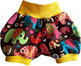 Kurze Babyhose Pumphose Shorts Bunte Elefanten braun mit gelbem Bündchen (62)