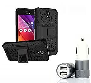 Aart Hard Dual Tough Military Grade Defender Series Bumper back case with Flip Kick Stand for Asus Zenfone Go + Car Charger With 2 Fast Charging USB Ports by Aart Store.