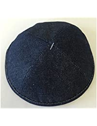 Alef Judaica Denim Blue Denim Jeans Yarmulke With Denim Blue Border And Yellow Orange Stitching Design - 6 Kippot...