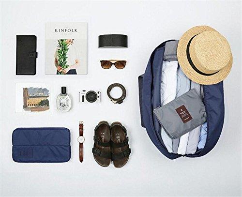 Sacchetti di viaggio delle donne di grande capacità Le borse portatili impermeabili di corsa del sacchetto pieghevole di Bagagli portatili del sacchetto di modo del nylon di modo (beige) navy blue