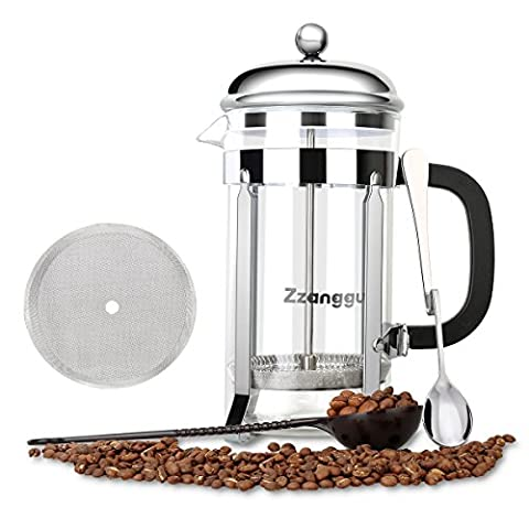 Zzanggu French Press Coffee Tea Maker Pot Travel Mug with Double Stainless Steel Filter and Replacement Durable Glass (34oz, 1L), Sliver …