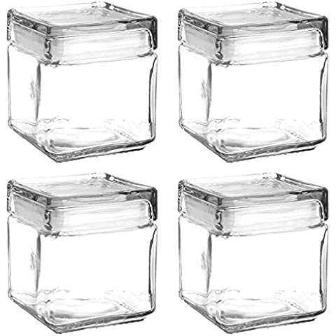 Set of 4 Anchor Hocking Stackable Glass Storage Jars Containers Airtight Seal Food Storage Canister 1-Quart by Anchor