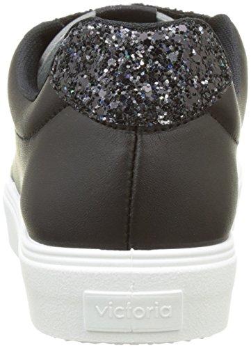 victoria Damen Deportivo Piel Velcros Glitter Flach Schwarz (Negro)