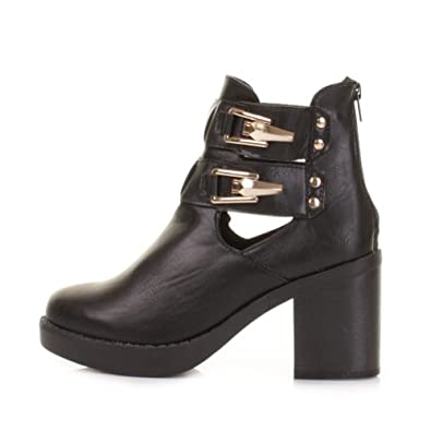 LADIES WOMENS BLOCK MID HEEL GOLD BUCKLE CHELSEA ANKLE CUT OUT LACE UP  BOOTS SHOES SIZE 3 4 5 6 7 8: Amazon.co.uk: Shoes & Bags