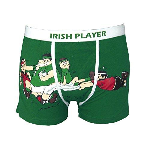 Traditional Craft Boxershorts, Motiv: irische Rugby-Spieler, Grün X-Large grün -