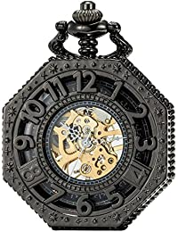 SEWOR octogonal negro esqueleto reloj de bolsillo Steampunk Totem Dial mecánico mano viento