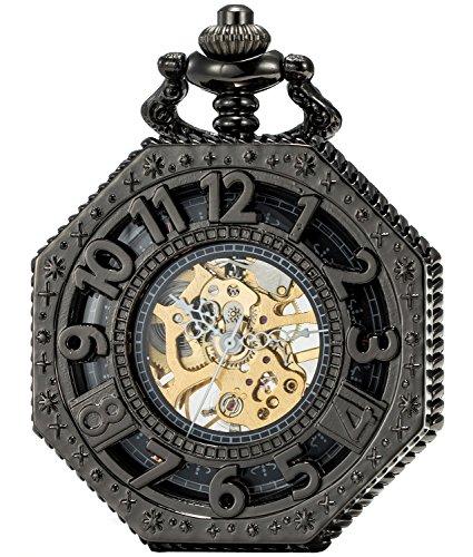 SEWOR Octagon Vintage Bat Style Mechanical Hand Wind Pocket Watch Halloween Gift (Black)