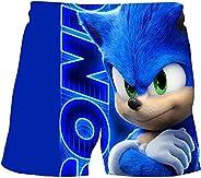 LIYIMING Sonic - Pantalones cortos de verano para niños de 4 a 12 años, de poliéster, diseño de dibujos animad