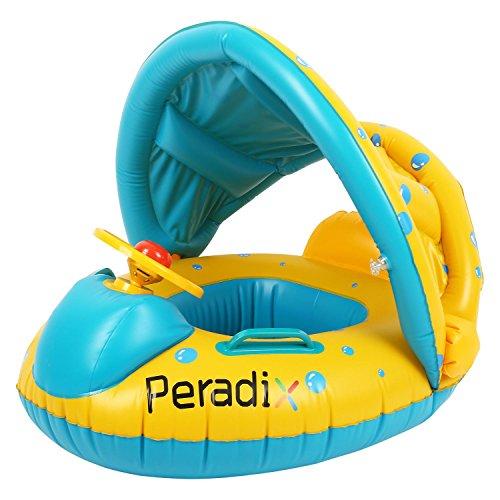 Flotador para bebé 1-3 Años Barco Inflable Flotador con Asiento Respaldo Techo Ajustable Juguetes de Desarrollo de Natación en Agua para Niños (Actualización)
