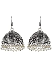 Aradhya High Quality German Silver Oxidized Jhumki Earrings For Women And Girls